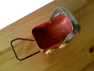 Circa 1930s Metal Toy Baby Carriage w Wooden Wheels Made in USA