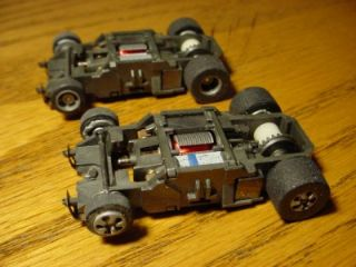 Two 440x2 Narrow Indy Type Tyco Mattel HO Slot Car Chassis