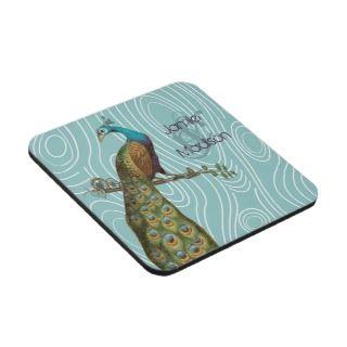 Teal Cute Peacock on Aqua or Any Color Wood Grain Coaster