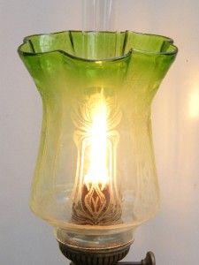 Victorian Art Nouveau Kerosene Oil Gas Lamp Light Shade