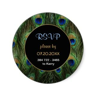 Peacock Feather RSVP Wedding Seal   Customize Round Sticker