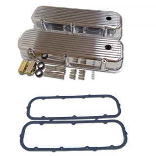 Pre 86 BBC Tall Finned Polished Aluminum Valve Covers with Rubber