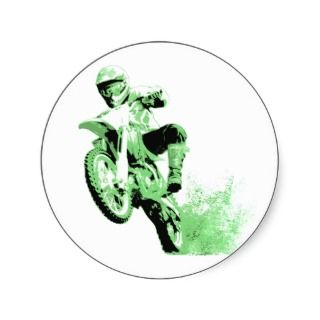 Dirt Bike Wheeling in Mud (Green) Round Sticker