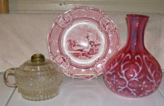 C1890s Northwood Cranberry Red Opalescent Glass Spanish Lace Water