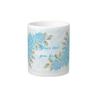 Vintage cyan blue roses floral custom jumbo mug