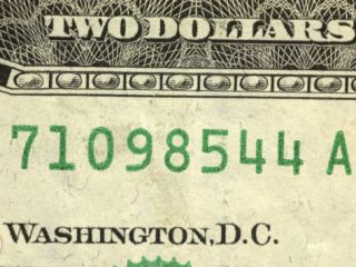 Close Up of Serial Number and Text on Two Dollar Bill Photographic