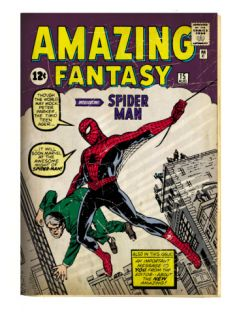 Marvel Comics Retro Amazing Fantasy Comic Book Cover #15, Introducing Spider Man (aged) Print