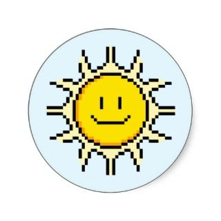 Cute Pixel Sun Round Stickers