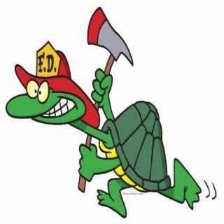funny fireman firefighter turtle cartoon photo cutout
