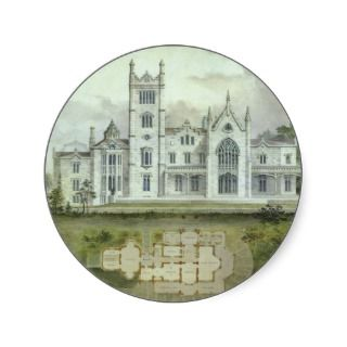 Vintage Architecture, French Chateau Floor Plans Round Sticker
