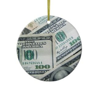 Cash Money US Dollar Bills Piled Up Ornaments