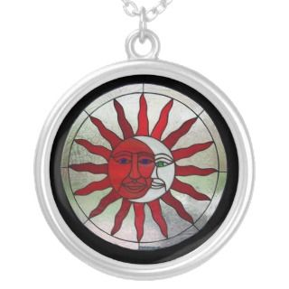 Sun and Moon Stained Glass Necklace