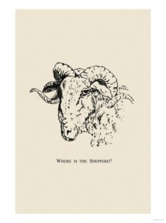Optical Illusion Puzzle Sheep and Shepherd Premium Poster