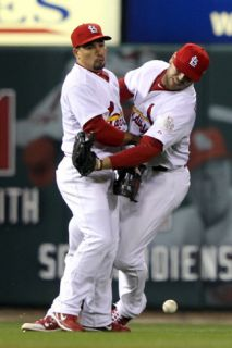 Texas Rangers v St Louis Cardinals, St Louis, MO   Oct. 27: Matt Holliday and Rafael Furcal Photographic Print by Jamie Squire