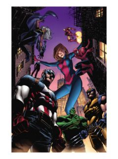 Marvel Adventures Avengers #28 Cover: Captain America, Giant Girl, Spider Man and Wolverine Print by Leonard Kirk