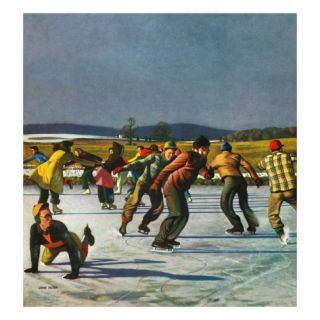 Ice Skating on Pond, January 26, 1952 Giclee Print by John Falter