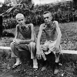 Emaciated Americans, Lee Rogers and John Todd, Japan Prison Camp Following Release by Allied Forces Photographic Print by Carl Mydans