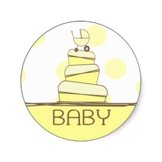 Yellow Baby Carriage Cake Sticker