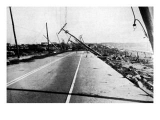 New England Hurricane of 1938, Island Park Destroyed by a Breaker with a Height of 30 to 40 Feet Premium Poster