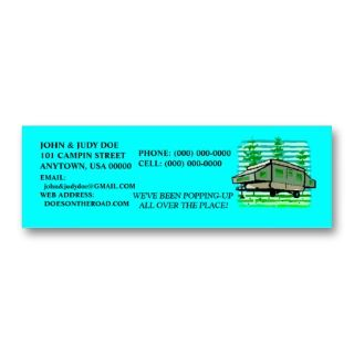 POP UP CAMPER TRAILER CONTACT OR BUSINESS CARDS