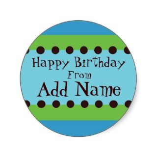 Funky Blue and Green Boys Birthday Sticker