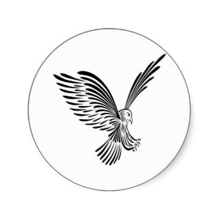 White Tribal Tattoo Eagle Round Sticker