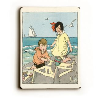 Kate Greenaway Children Building Sand Castle Wood Sign