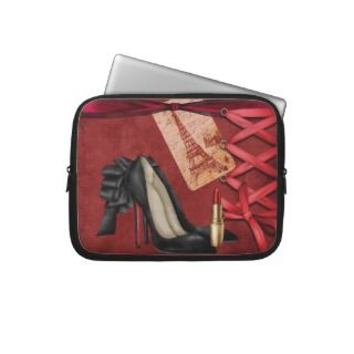 Girly Eiffel tower,fashion high heels red velvet Laptop Computer