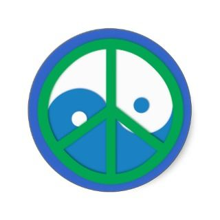 Yin Yang with Peace sign Round Sticker