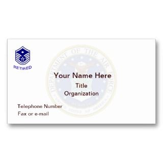 Air Force Master Sergeant Retired Business Card