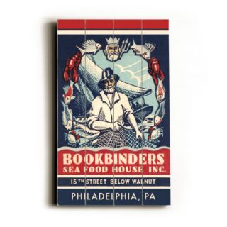 Bookbinders Seafood House Advertisement Wood Sign