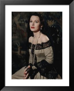 Hedy Lamarr in Black Lace Mantilla, lace Trimmed Dress, Long Pearl Necklace and Pearl Drop Earrings Pre made Frame