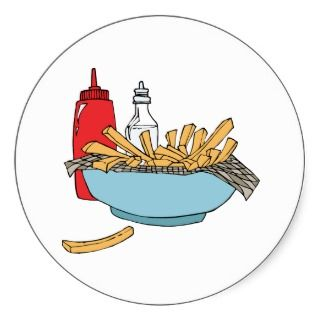 French Fries Chips Junk Snack Food Cartoon Art Sticker