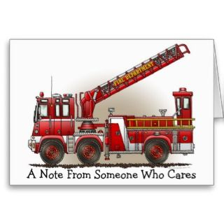 Hook and Ladder Fire Truck Note Card