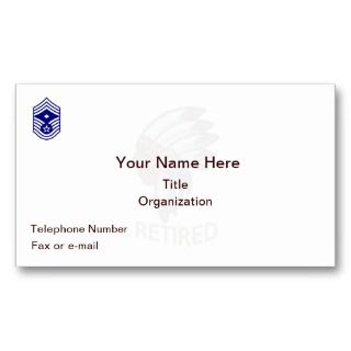 USAF Chief Master Sgt. Retired Business Card