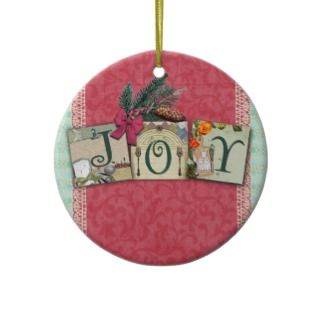 Christmas holiday tree ornament in shabby chic with vintage images