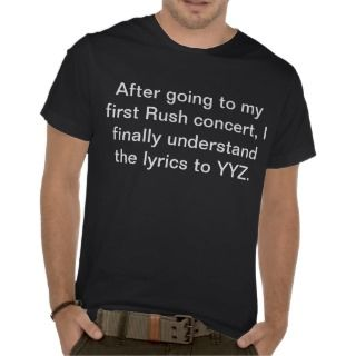 Rush Lyrics YYZ Concert T shirt