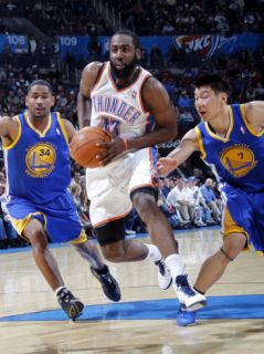 Golden State Warriors v Oklahoma City Thunder: James Harden, Charlie Bell and Jeremy Lin Photographic Print by Layne Murdoch