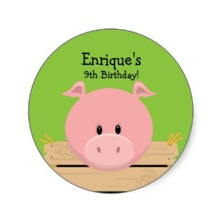 Piggy Going on a Hayride Birthday Party Favor Stic Round Sticker