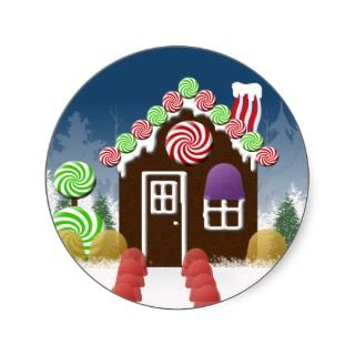 Christmas Candy House Holiday Envelope Seals sticker