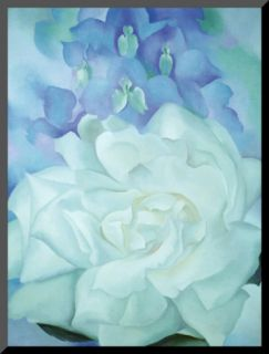 White Rose with Larkspur Mounted Print by Georgia OKeeffe
