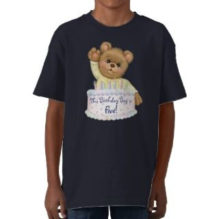 Birthday Bear Boy   Fifth Birthday Tee Shirts