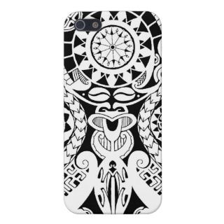 Polynesian lizard and mask tattoo design case for iPhone 5