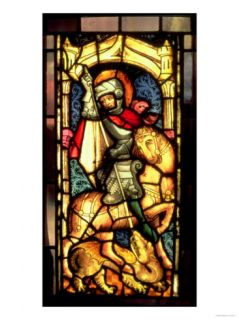 Stained Glass Window Depicting St. George and the Dragon from Cologne, circa 1300 Giclee Print