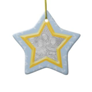 Baby Footprints Blue Star Photo Template Ornament