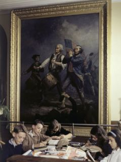 Children Read Below Archibald Willards Oil Painting, Spirit of 76 Photographic Print by B. Anthony Stewart