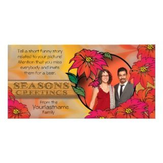 Poinsettia Seasons Greeting Christmas Family Photo Cards