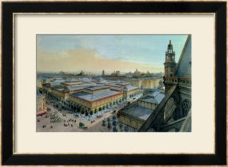 View of Les Halles in Paris Taken from Saint Eustache Upper Gallery, circa 1870 80 Pre made Frame