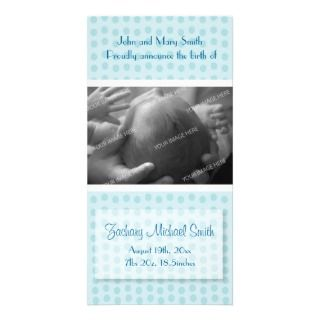 Baby Boy Birth Announcement Photo Card Template