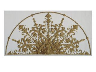 A Wallpaper Panel Depicting a Renaissance Revival Style Ceiling Rosette with a Demi Lune Beaded… Giclee Print